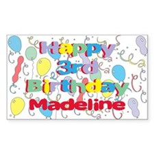 Madeline's 3rd Birthday Rectangle Decal