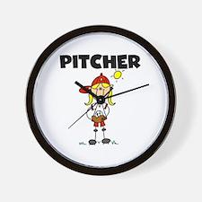 Girl Baseball Pitcher Wall Clock