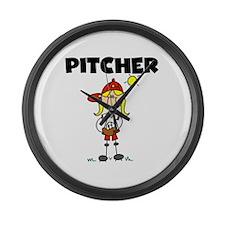 Girl Baseball Pitcher Large Wall Clock