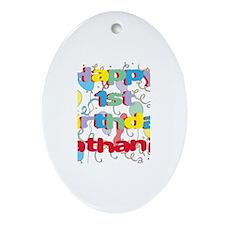 Nathaniel's 1st Birthday Oval Ornament