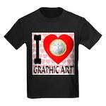 I Love Graphic Art Kids Dark T-Shirt