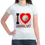 I Love Graphic Art Jr. Ringer T-Shirt