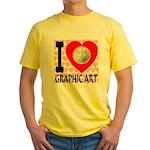 I Love Graphic Art Yellow T-Shirt