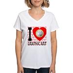 I Love Graphic Art Women's V-Neck T-Shirt