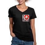 I Love Graphic Art Women's V-Neck Dark T-Shirt