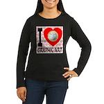 I Love Graphic Art Women's Long Sleeve Dark T-Shir