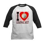 I Love Graphic Art Kids Baseball Jersey