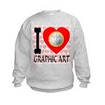 I Love Graphic Art Kids Sweatshirt