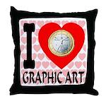 I Love Graphic Art Throw Pillow