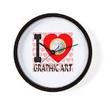 I Love Graphic Art Wall Clock