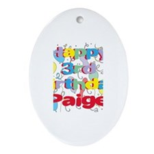 Paige's 3rd Birthday Oval Ornament
