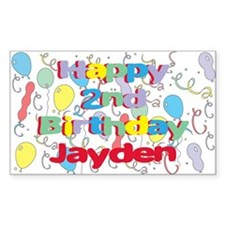 Jayden's 2nd Birthday Rectangle Decal