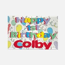 Colby's 1st Birthday Rectangle Magnet