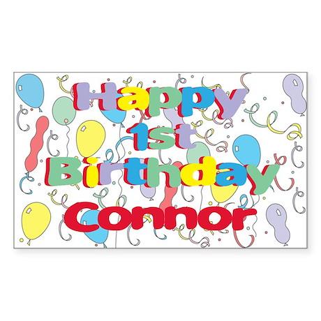 Connor's 1st Birthday Rectangle Sticker