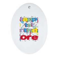 Corey's 1st Birthday Oval Ornament