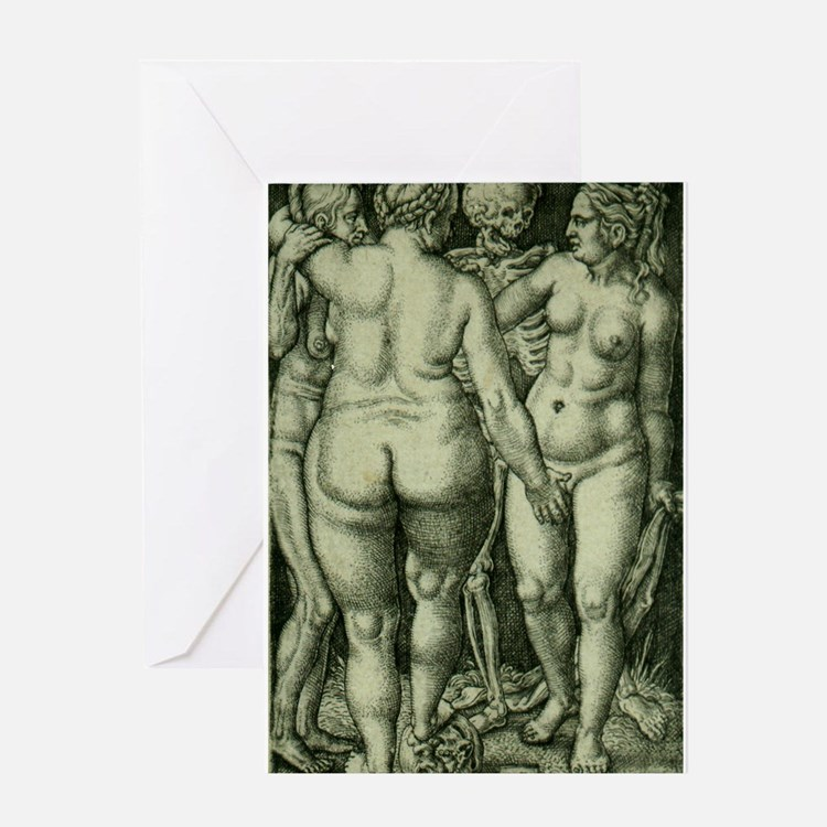 Death and Three Nude Women Greeting Card