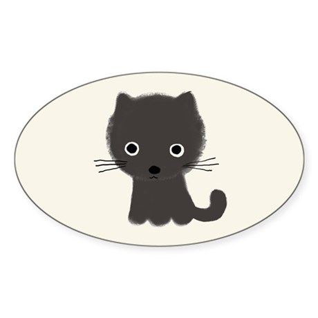 Grey Kitty Sticker (Oval)