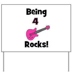 Being 4 Rocks! pink Yard Sign