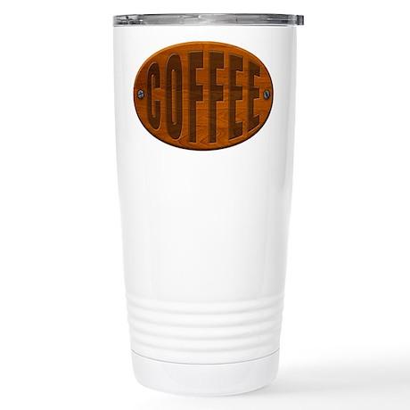 Wood Coffee Plaque Stainless Steel Travel Mug