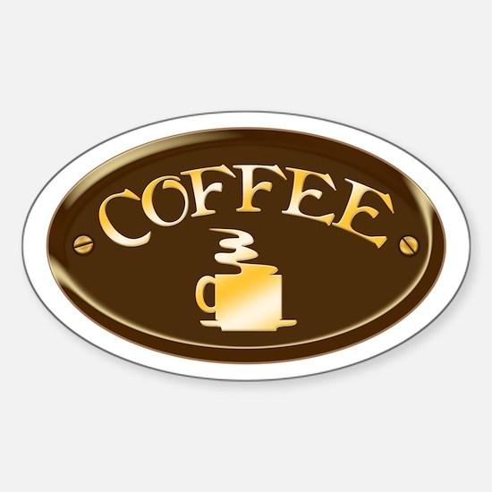 Coffee Plaque Sticker (Oval)