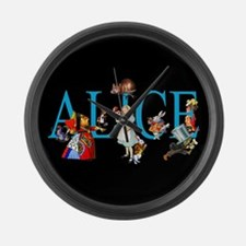 Alice in Black Large Wall Clock