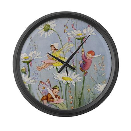 MOON DAISY FAIRIES Large Wall Clock