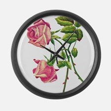 A PAIR OF PINK ROSES Large Wall Clock