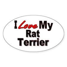 I Love My Rat Terrier Oval Bumper Stickers