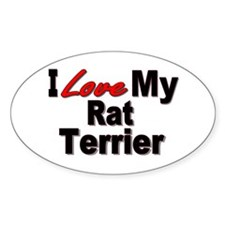 I Love My Rat Terrier Oval Decal