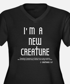 New Creature Women's Plus Size V-Neck Dark T-Shirt