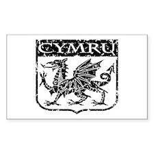 CYMRU Wales Rectangle Sticker 10 pk)
