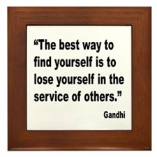 Gandhi Find Yourself Quote Framed Tile