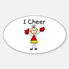 Stick Figure I Cheer Oval Decal