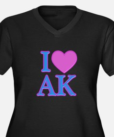 I Love AK Women's Plus Size V-Neck Dark T-Shirt