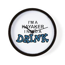 Kayaker Need a Drink Wall Clock