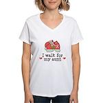 Breast Cancer Walk Aunt Women's V-Neck T-Shirt