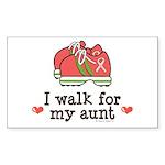 Breast Cancer Walk Aunt Rectangle Sticker