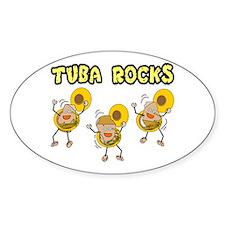 Tuba Rocks Oval Stickers