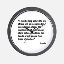 Gandhi Law of Love Quote Wall Clock