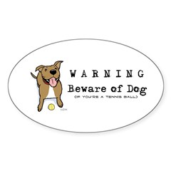 Beware of Dog Oval Sticker (50 pk)