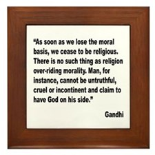 Gandhi Moral Basis Quote Framed Tile