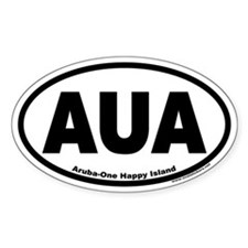 Aruba AUA Euro Oval Sticker (One Happy Island)