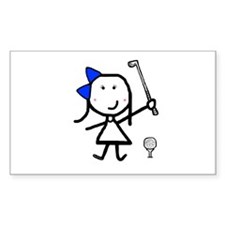 Girl & Golf Rectangle Decal