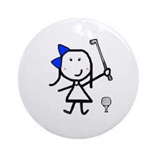 Girl & Golf Ornament (Round)