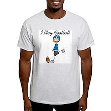 Blue I Play Football T-Shirt