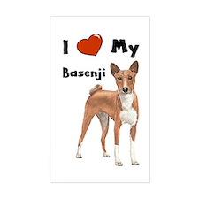 I Love My Basenji Rectangle Decal