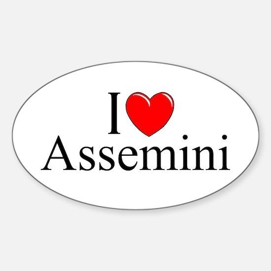 """I Love (Heart) Assemini"" Oval Decal"