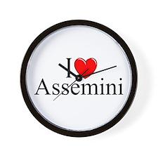 """""""I Love (Heart) Assemini"""" Wall Clock"""