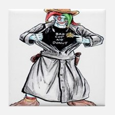 Bad Jester Cop Artwork on Tile Coaster