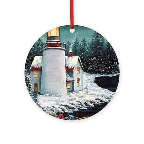 Christmas Lighthouse Ornament (Round)